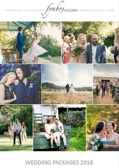 Wedding Packages 2018 Fynbos Wine Estate Malmesbury Swartland South Africa