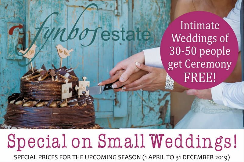 Special on Small Country Weddings at Fynbos Estate near Cape Town